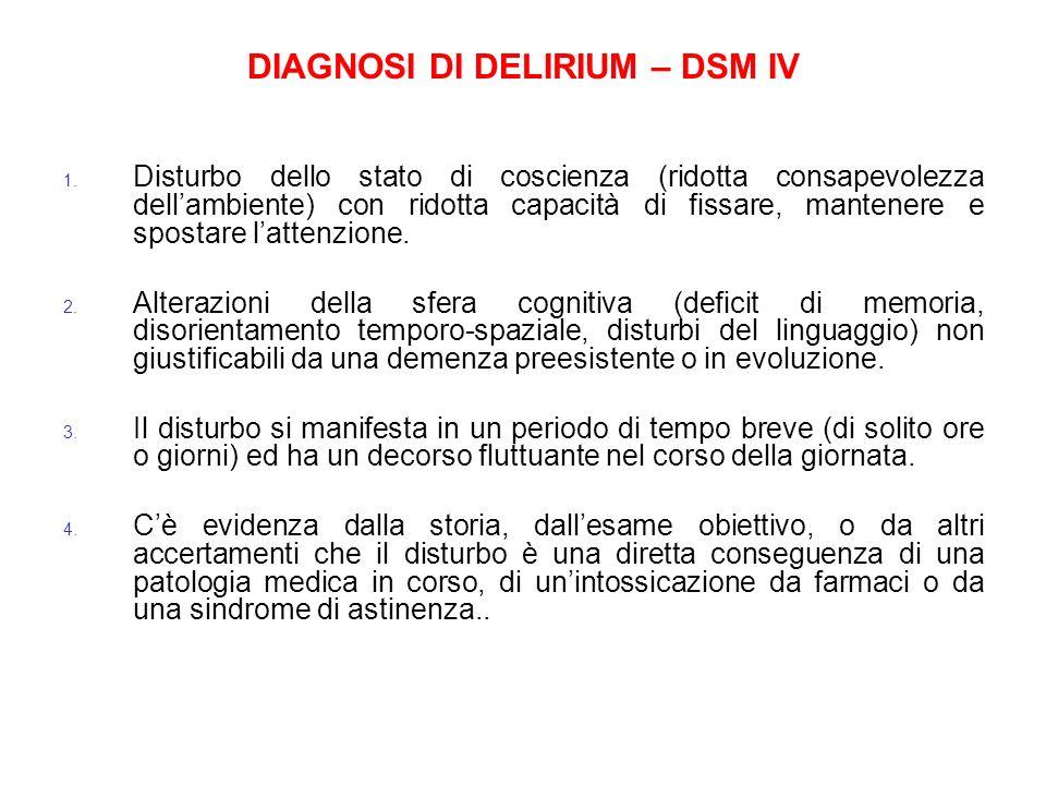 DIAGNOSI DI DELIRIUM – DSM IV 1. Disturbo dello stato di coscienza (ridotta consapevolezza dellambiente) con ridotta capacità di fissare, mantenere e