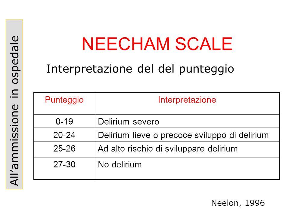 NEECHAM SCALE PunteggioInterpretazione 0-19Delirium severo 20-24Delirium lieve o precoce sviluppo di delirium 25-26Ad alto rischio di sviluppare delir