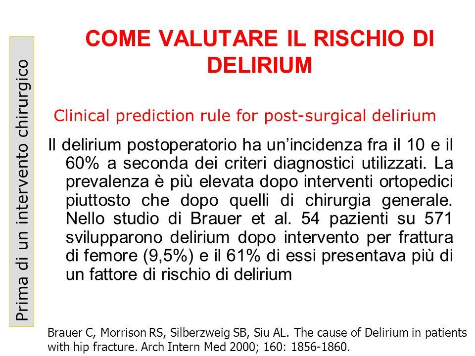 COME VALUTARE IL RISCHIO DI DELIRIUM Prima di un intervento chirurgico Il delirium postoperatorio ha unincidenza fra il 10 e il 60% a seconda dei crit