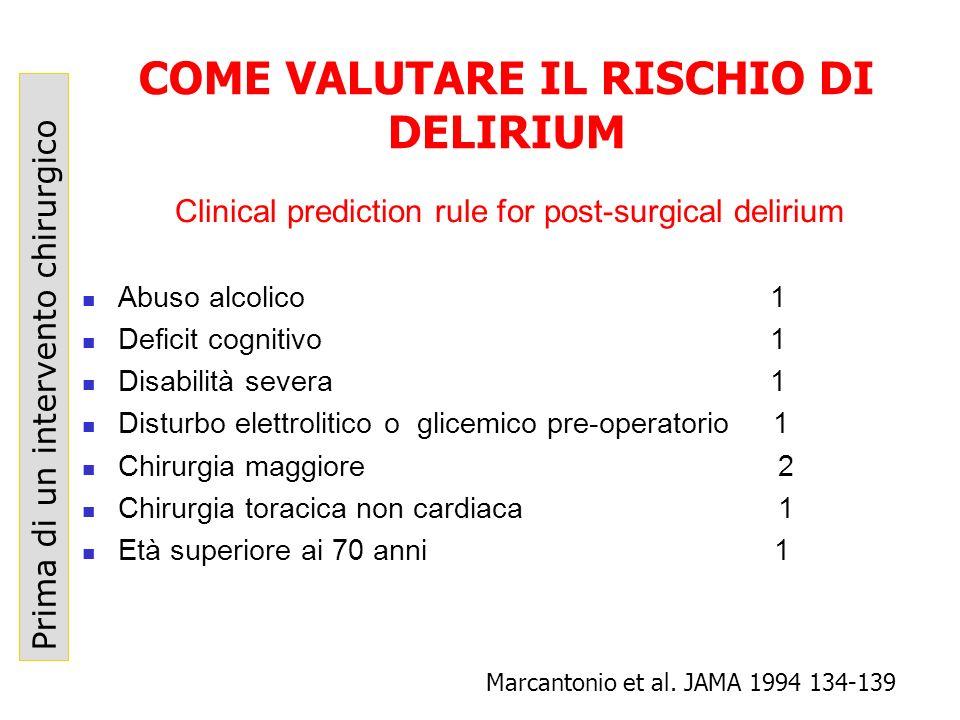 COME VALUTARE IL RISCHIO DI DELIRIUM Prima di un intervento chirurgico Marcantonio et al. JAMA 1994 134-139 Abuso alcolico 1 Deficit cognitivo 1 Disab