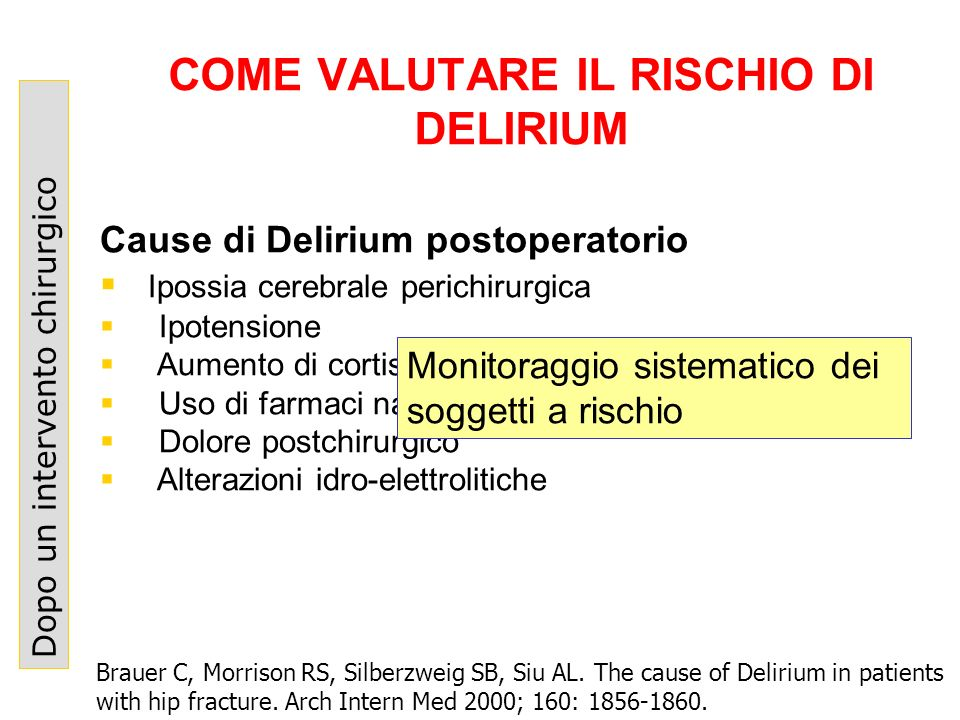 COME VALUTARE IL RISCHIO DI DELIRIUM Dopo un intervento chirurgico Brauer C, Morrison RS, Silberzweig SB, Siu AL. The cause of Delirium in patients wi