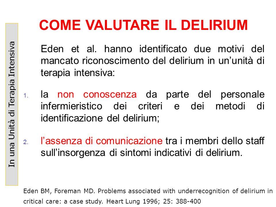 Eden et al. hanno identificato due motivi del mancato riconoscimento del delirium in ununità di terapia intensiva: 1. la non conoscenza da parte del p