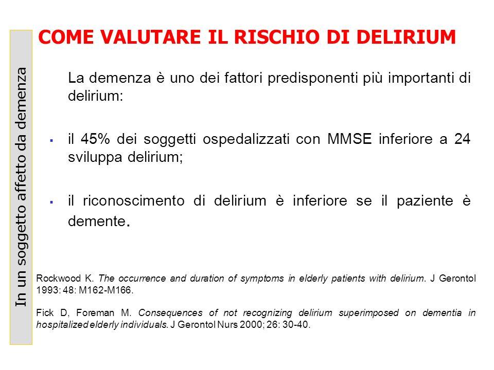 La demenza è uno dei fattori predisponenti più importanti di delirium: il 45% dei soggetti ospedalizzati con MMSE inferiore a 24 sviluppa delirium; il