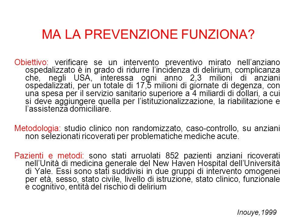 MA LA PREVENZIONE FUNZIONA? Obiettivo: verificare se un intervento preventivo mirato nellanziano ospedalizzato è in grado di ridurre lincidenza di del