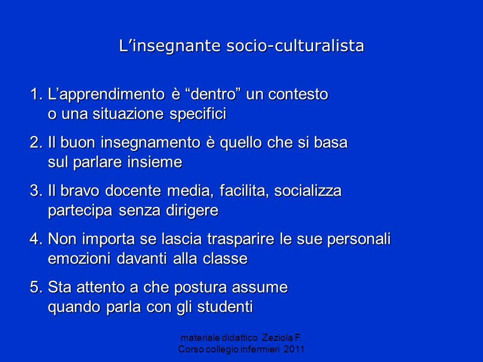 materiale didattico Zeziola F. Corso collegio infermieri 2011 Linsegnante socio-culturalista 1.Lapprendimento è dentro un contesto o una situazione sp