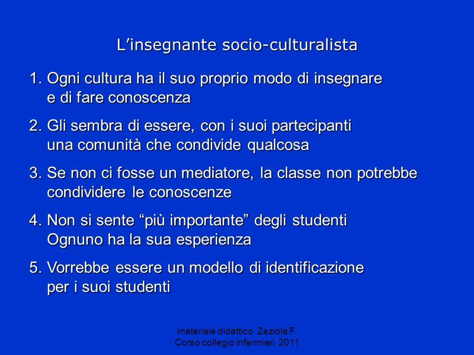materiale didattico Zeziola F. Corso collegio infermieri 2011 Linsegnante socio-culturalista 1.Ogni cultura ha il suo proprio modo di insegnare e di f