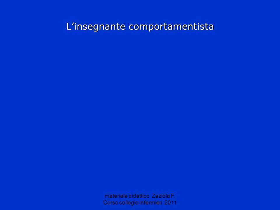 materiale didattico Zeziola F. Corso collegio infermieri 2011 Linsegnante comportamentista