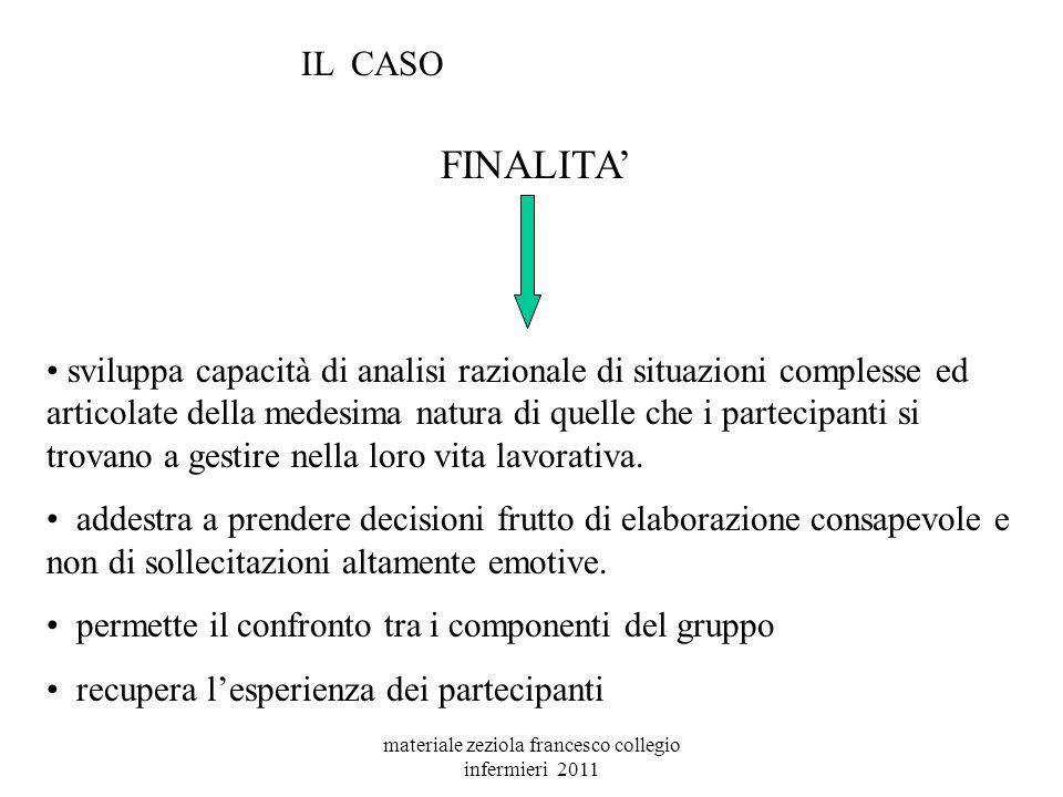 materiale zeziola francesco collegio infermieri 2011 CASO OBIETTIVO GRIGLIA DI NARRAZIONE STORIA DOMANDE FINALI