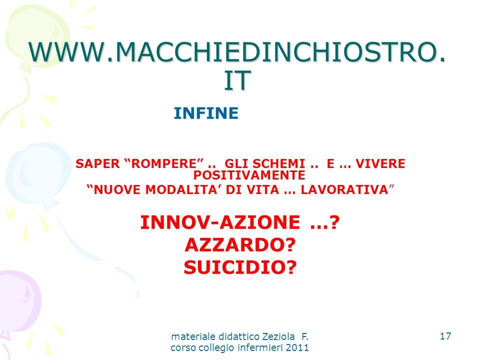 materiale didattico Zeziola F. corso collegio infermieri 2011 17 WWW.MACCHIEDINCHIOSTRO.