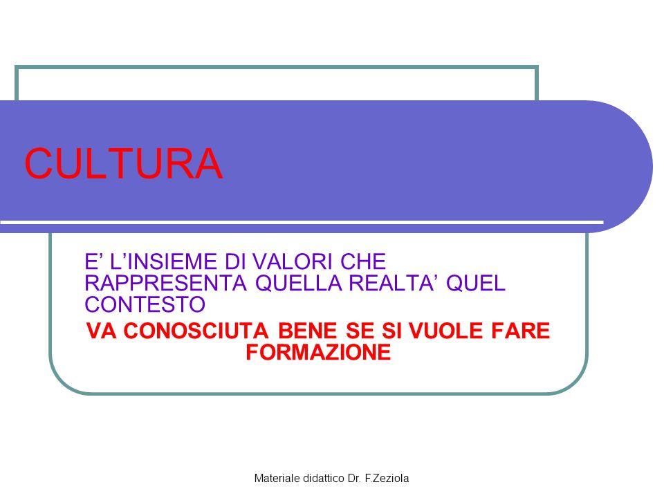 Materiale didattico Dr. F.Zeziola CULTURA E LINSIEME DI VALORI CHE RAPPRESENTA QUELLA REALTA QUEL CONTESTO VA CONOSCIUTA BENE SE SI VUOLE FARE FORMAZI