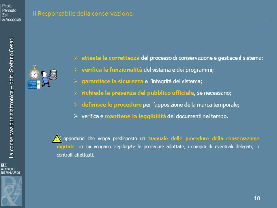 La conservazione elettronica – dott. Stefano Cesati 10 attesta la correttezza del processo di conservazione e gestisce il sistema; verifica la funzion