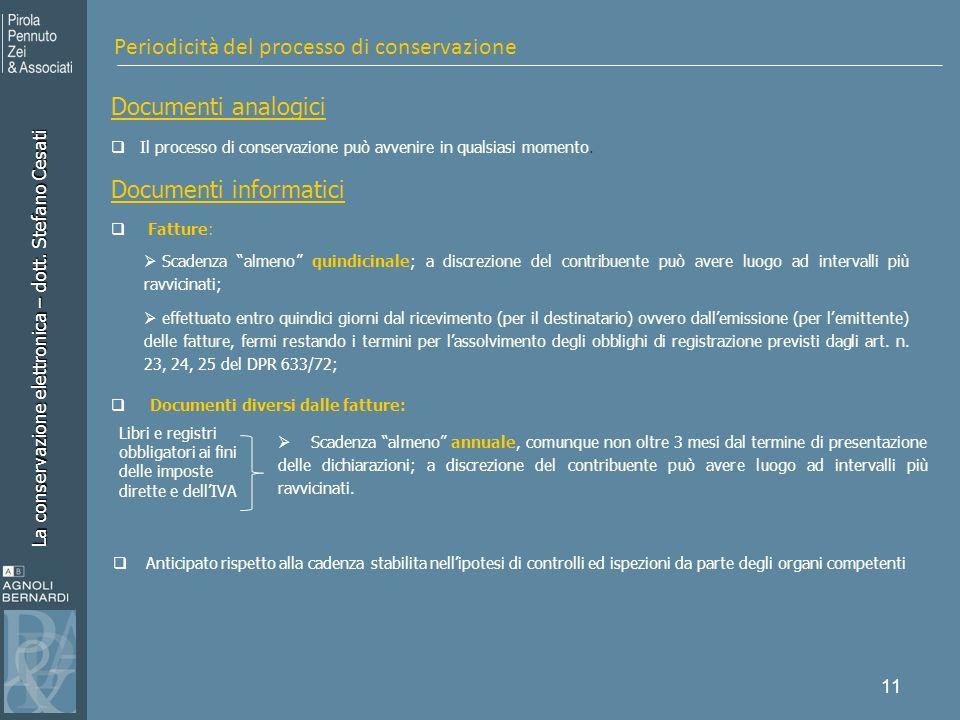 La conservazione elettronica – dott. Stefano Cesati 11 Documenti analogici Il processo di conservazione può avvenire in qualsiasi momento. Documenti i