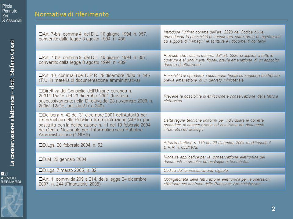 La conservazione elettronica – dott. Stefano Cesati 2 Normativa di riferimento Art. 7-bis, comma 4, del D.L. 10 giugno 1994, n. 357, convertito dalla