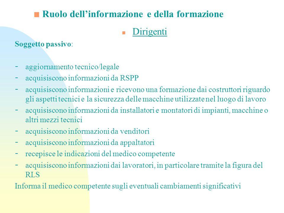 Ruolo dellinformazione e della formazione n Dirigenti Soggetto passivo: - aggiornamento tecnico/legale - acquisiscono informazioni da RSPP - acquisisc