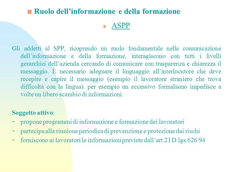 Ruolo dellinformazione e della formazione n ASPP Gli addetti al SPP, ricoprendo un ruolo fondamentale nella comunicazione dellinformazione e della for
