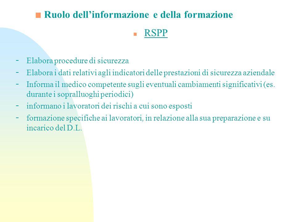 Ruolo dellinformazione e della formazione n RSPP - Elabora procedure di sicurezza - Elabora i dati relativi agli indicatori delle prestazioni di sicur