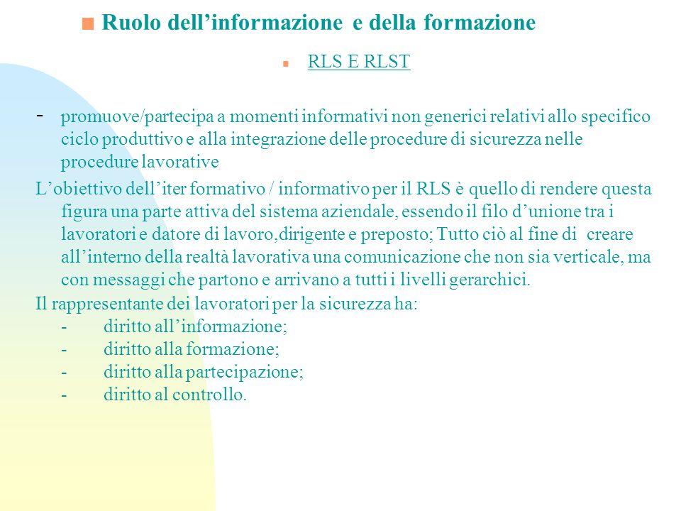 Ruolo dellinformazione e della formazione n RLS E RLST - promuove/partecipa a momenti informativi non generici relativi allo specifico ciclo produttiv