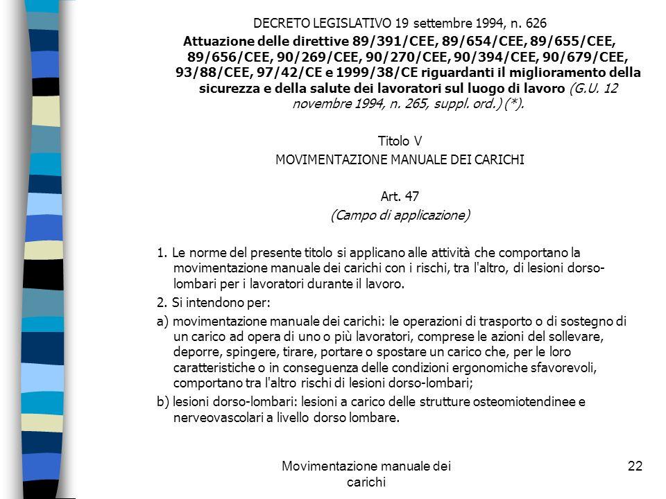 Movimentazione manuale dei carichi 22 DECRETO LEGISLATIVO 19 settembre 1994, n. 626 Attuazione delle direttive 89/391/CEE, 89/654/CEE, 89/655/CEE, 89/