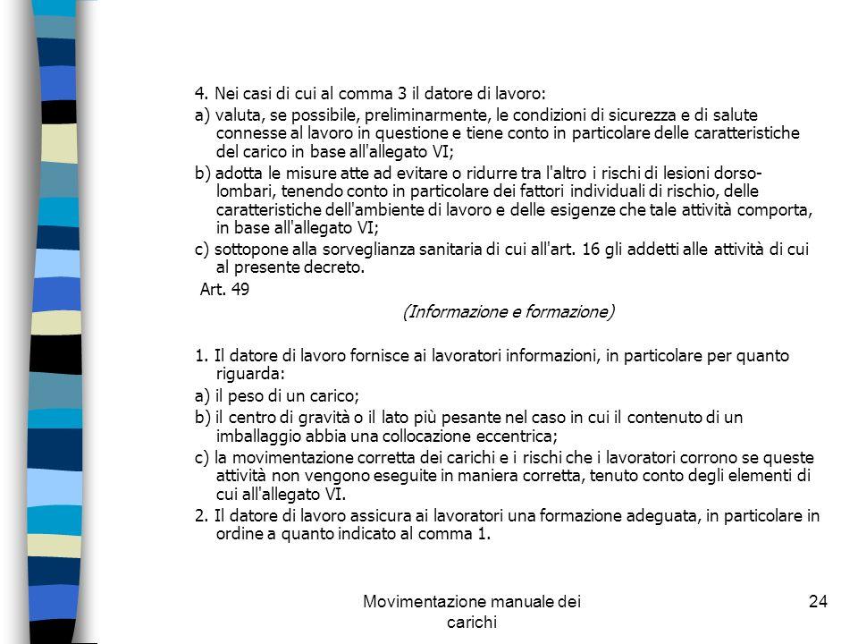 Movimentazione manuale dei carichi 24 4. Nei casi di cui al comma 3 il datore di lavoro: a) valuta, se possibile, preliminarmente, le condizioni di si
