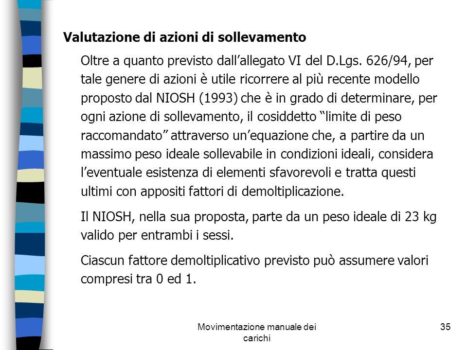 Movimentazione manuale dei carichi 35 Valutazione di azioni di sollevamento Oltre a quanto previsto dallallegato VI del D.Lgs. 626/94, per tale genere