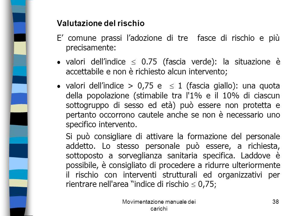 Movimentazione manuale dei carichi 38 Valutazione del rischio E comune prassi ladozione di tre fasce di rischio e più precisamente: valori dellindice
