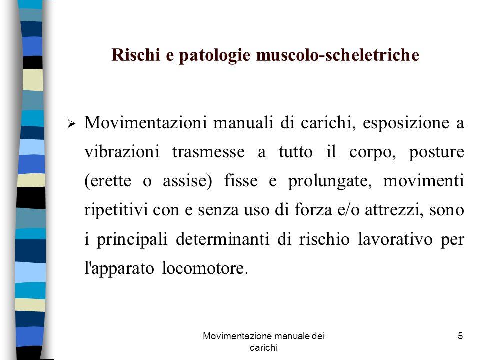 Movimentazione manuale dei carichi 5 Rischi e patologie muscolo-scheletriche Movimentazioni manuali di carichi, esposizione a vibrazioni trasmesse a t