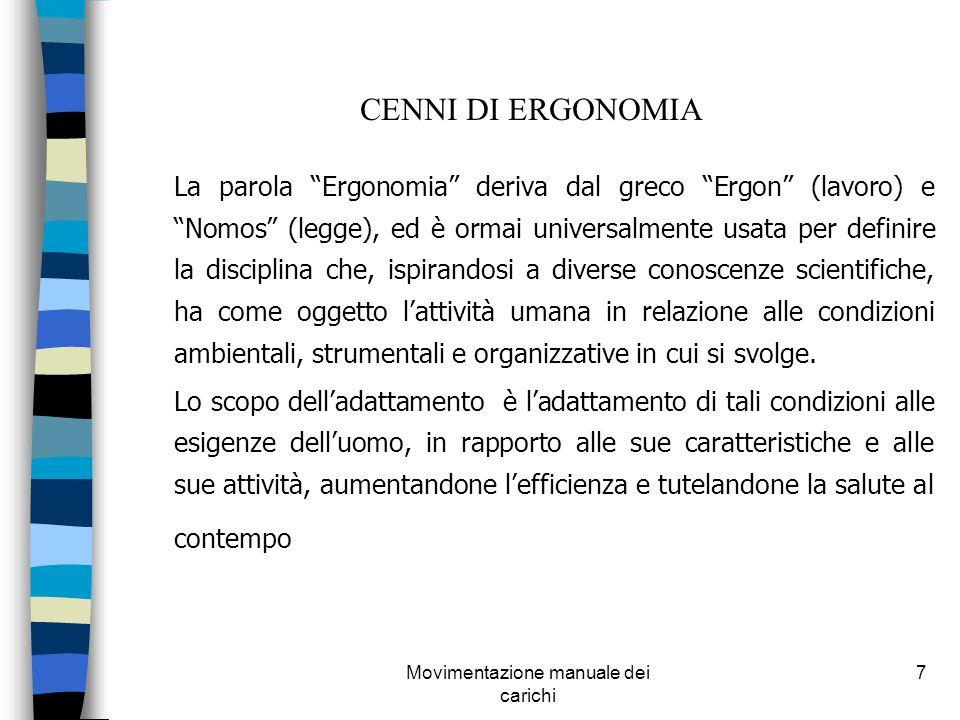 Movimentazione manuale dei carichi 7 CENNI DI ERGONOMIA La parola Ergonomia deriva dal greco Ergon (lavoro) e Nomos (legge), ed è ormai universalmente