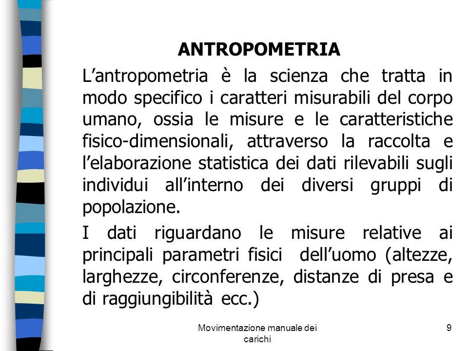Movimentazione manuale dei carichi 9 ANTROPOMETRIA Lantropometria è la scienza che tratta in modo specifico i caratteri misurabili del corpo umano, os