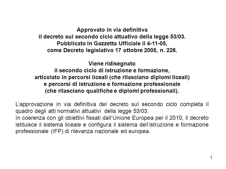 1 Approvato in via definitiva il decreto sul secondo ciclo attuativo della legge 53/03.