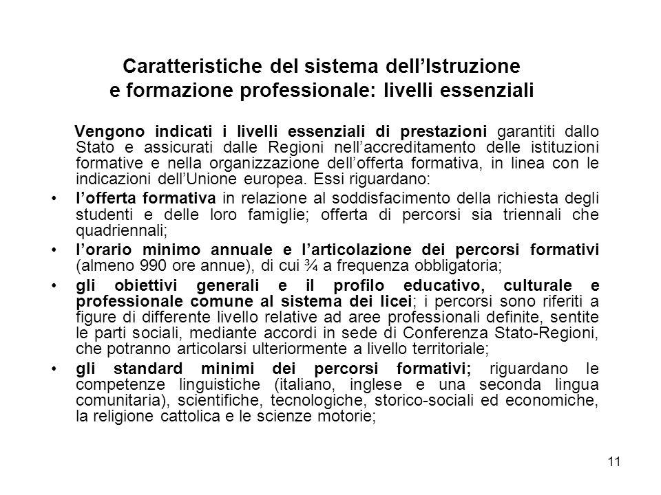 11 Vengono indicati i livelli essenziali di prestazioni garantiti dallo Stato e assicurati dalle Regioni nellaccreditamento delle istituzioni formative e nella organizzazione dellofferta formativa, in linea con le indicazioni dellUnione europea.
