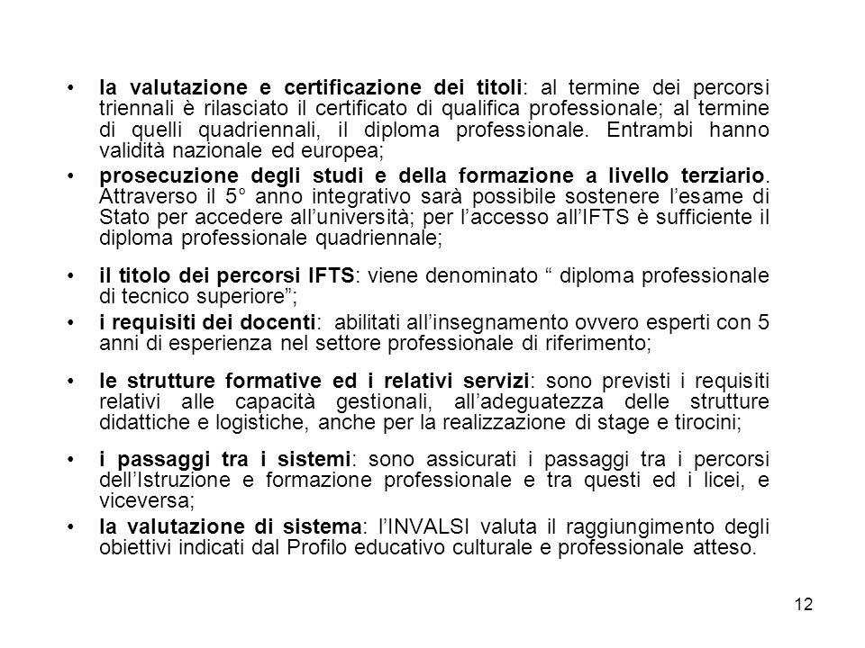 12 la valutazione e certificazione dei titoli: al termine dei percorsi triennali è rilasciato il certificato di qualifica professionale; al termine di quelli quadriennali, il diploma professionale.