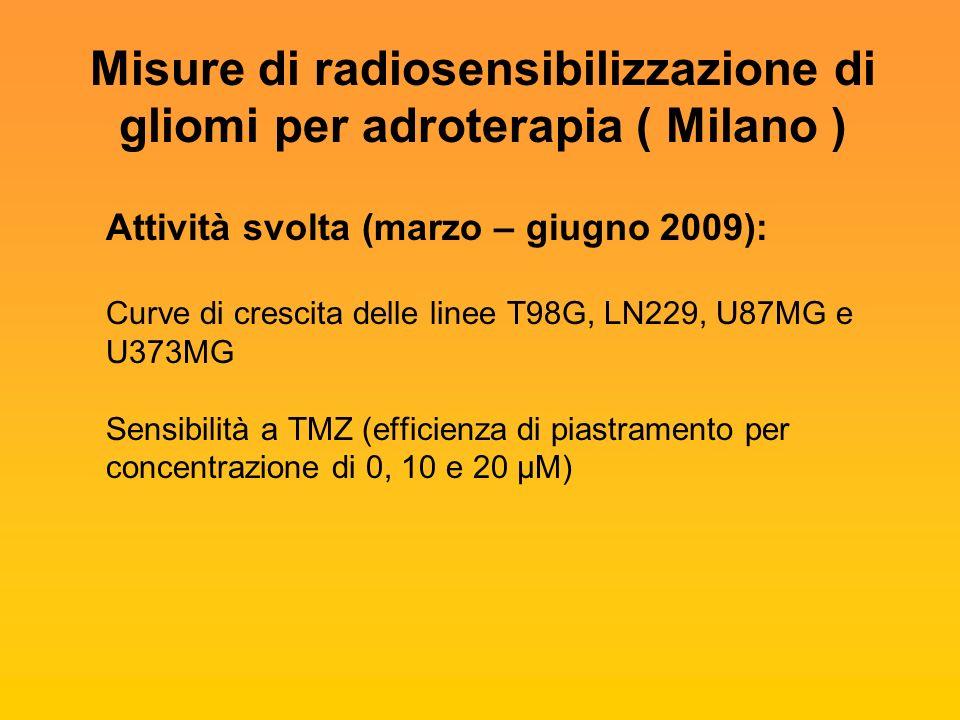 Misure di radiosensibilizzazione di gliomi per adroterapia ( Milano ) Attività svolta (marzo – giugno 2009): Curve di crescita delle linee T98G, LN229