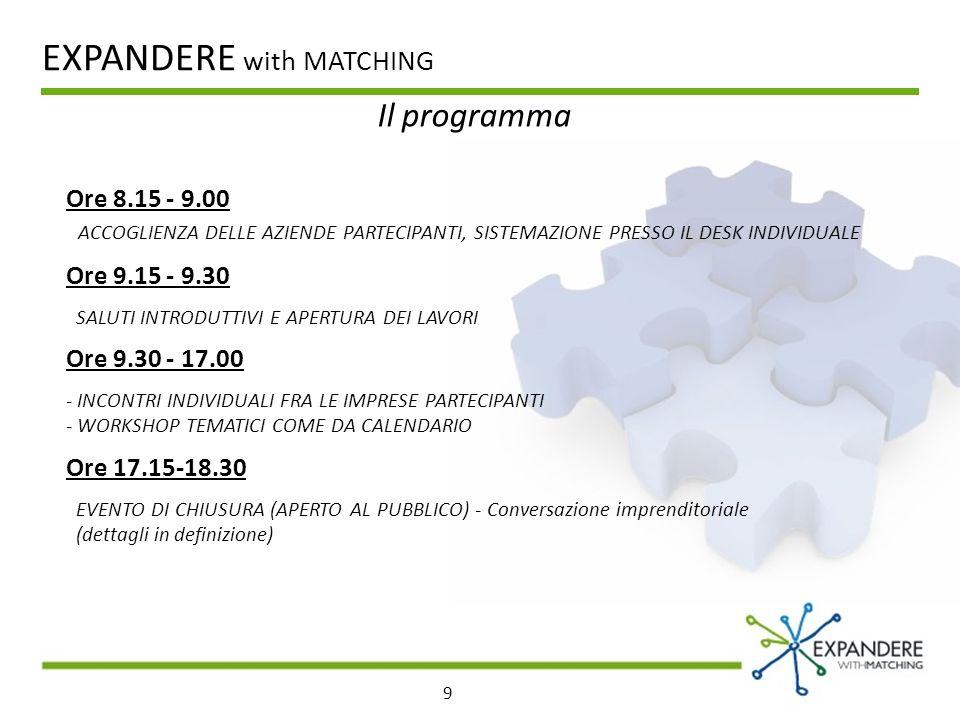 9 Il programma EXPANDERE with MATCHING Ore 8.15 - 9.00 ACCOGLIENZA DELLE AZIENDE PARTECIPANTI, SISTEMAZIONE PRESSO IL DESK INDIVIDUALE Ore 9.15 - 9.30 SALUTI INTRODUTTIVI E APERTURA DEI LAVORI Ore 9.30 - 17.00 - INCONTRI INDIVIDUALI FRA LE IMPRESE PARTECIPANTI - WORKSHOP TEMATICI COME DA CALENDARIO Ore 17.15-18.30 EVENTO DI CHIUSURA (APERTO AL PUBBLICO) - Conversazione imprenditoriale (dettagli in definizione)