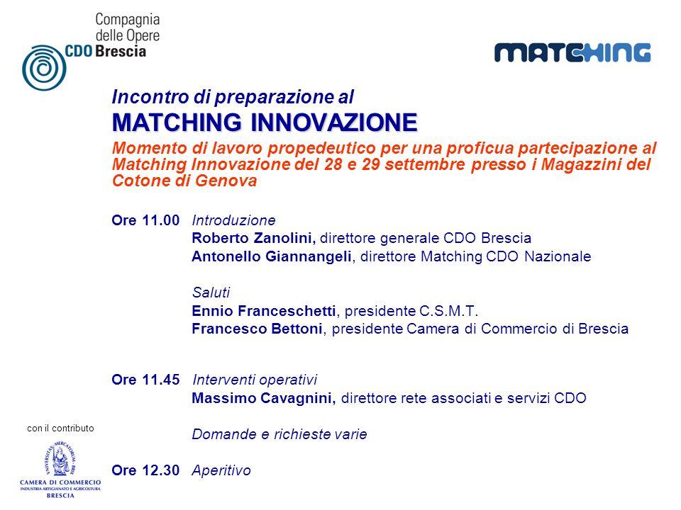 con il contributo Incontro di preparazione al MATCHING INNOVAZIONE Momento di lavoro propedeutico per una proficua partecipazione al Matching Innovazi