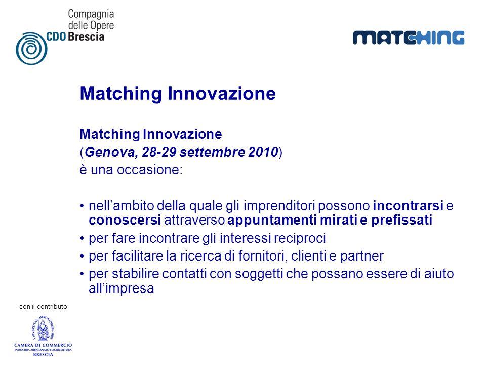 con il contributo Matching Innovazione (Genova, 28-29 settembre 2010) è una occasione: nellambito della quale gli imprenditori possono incontrarsi e c