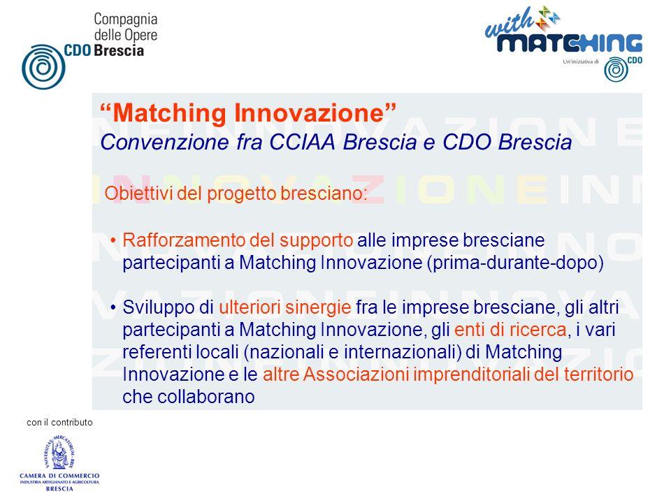 con il contributo Matching Innovazione Convenzione fra CCIAA Brescia e CDO Brescia Obiettivi del progetto bresciano: Rafforzamento del supporto alle i