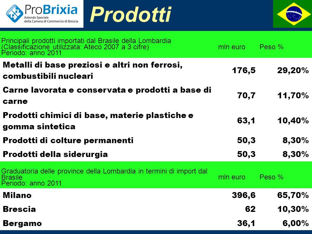 Interscambio ITALIA-BRASILE (valori in milioni di euro) 200620072008200920102011 Export dall Italia22282561334226933877 4785 (+23,4%) Import dall Italia34453783384424163314 4154 (+25,4%) Interscambio56726344718651097191 8939 (+24,3%) Saldo-1217-1223-502278463631