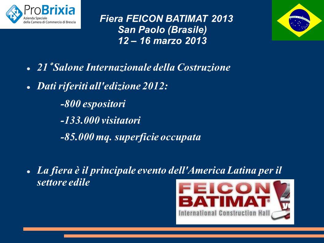 Fiera FEICON BATIMAT 2013 San Paolo (Brasile) 12 – 16 marzo 2013 21° Salone Internazionale della Costruzione Dati riferiti all edizione 2012: -800 espositori -133.000 visitatori -85.000 mq.