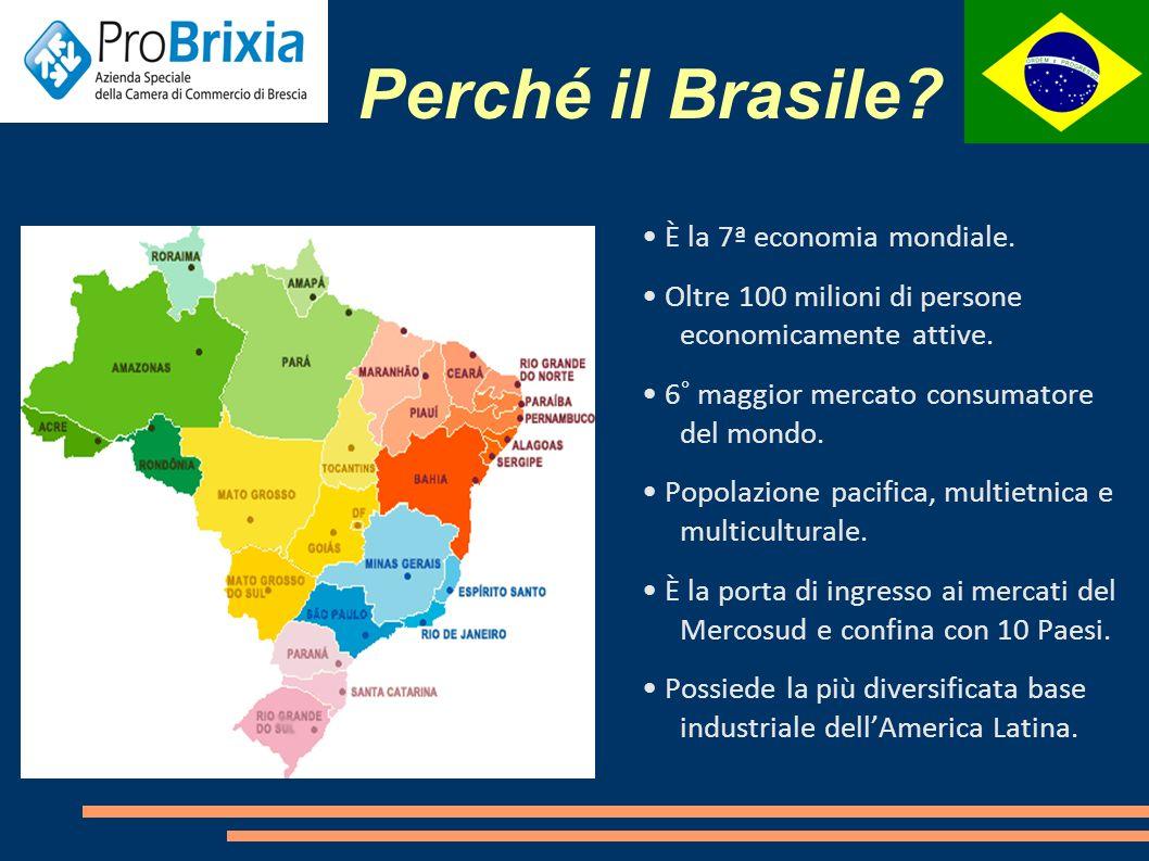 Perché il Brasile.Crescita di 442.600 posti di lavoro dall inizio dell anno.