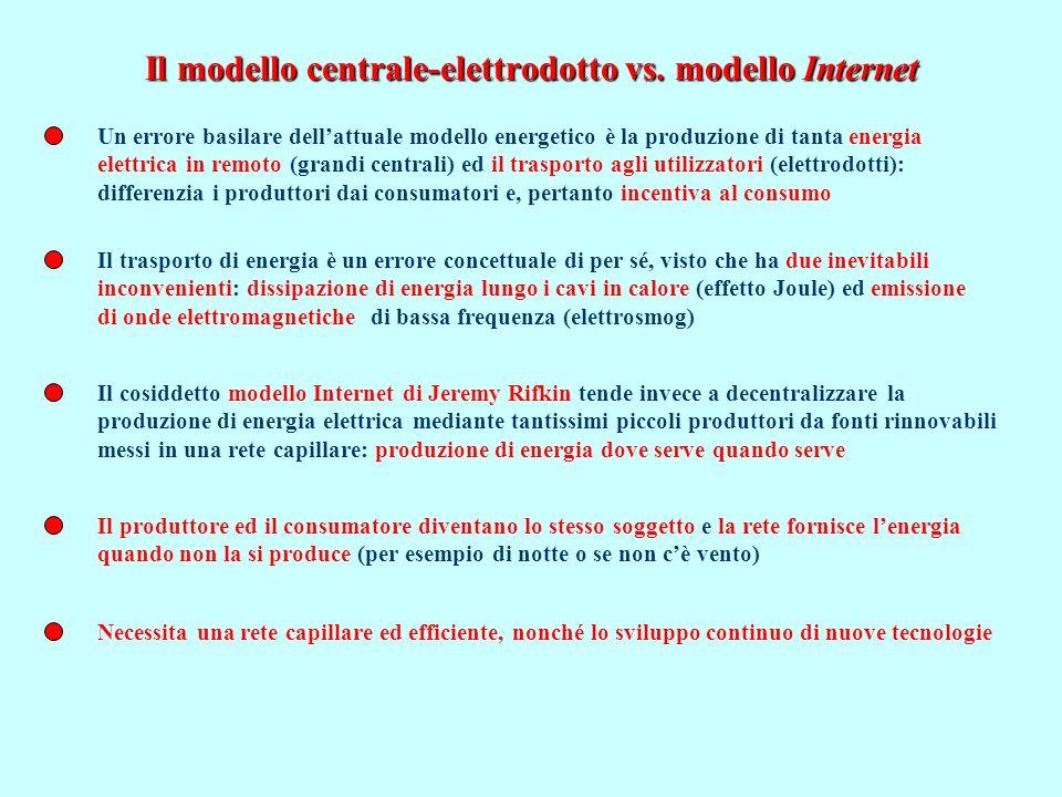 Il modello centrale-elettrodotto vs.