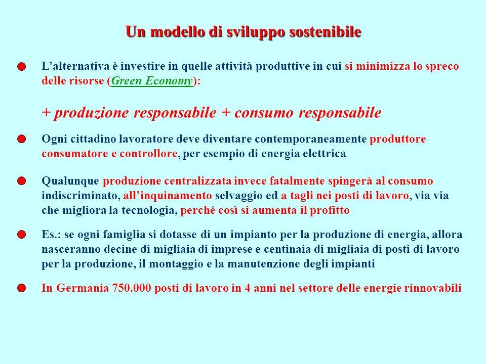 Lacrescita: le 10 R di Serge Latouche 1.Ritrovare unimpronta ecologica sostenibile 2.Rilocalizzare 3.Ridurre i trasporti e imputare i danni dellinquinamento a chi lo produce 4.Ritornare allagricoltura contadina 5.Riduzione dei tempi di lavoro (e creazione di nuovo impiego) 6.Ridurre lo spreco di energia 7.Restringere lo spazio pubblicitario 8.Ri-orientare la ricerca scientifica 9.Riappropriarsi della moneta 10.Incentivare la produzione di beni Relazionali La crescita per la crescita, la crescita infinita è incompatibile con un pianeta finito Se tutti vivessero come gli statunitensi avremmo bisogno di 6 pianeti; 3 pianeti se tutti vivessimo come gli italiani Demercificare i beni comuni Utopia.