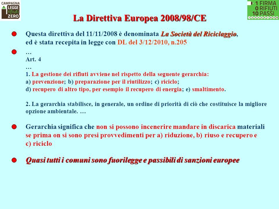La Direttiva Europea 2008/98/CE La Società del Riciclaggio Questa direttiva del 11/11/2008 è denominata La Società del Riciclaggio, ed è stata recepit
