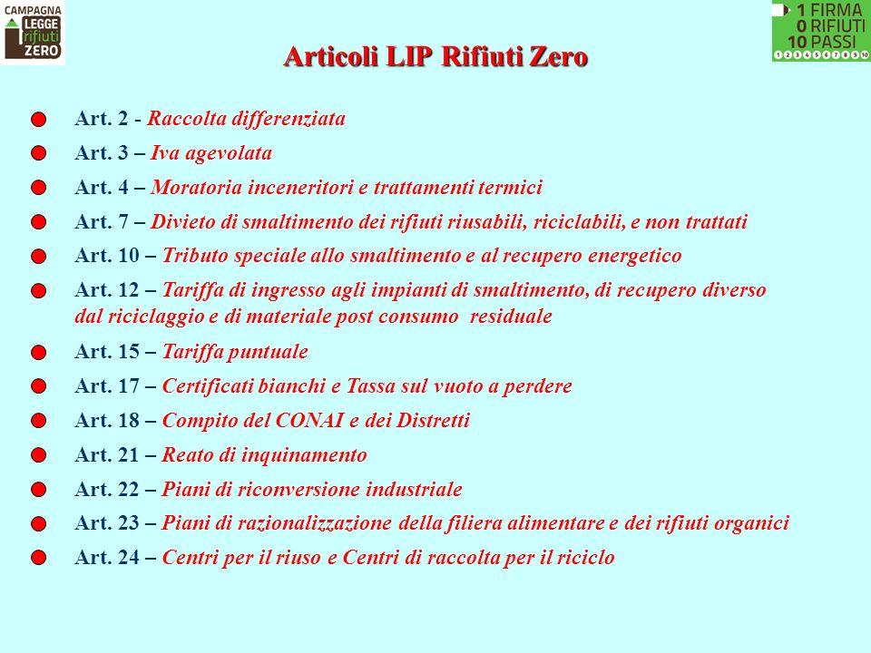 Articoli LIP Rifiuti Zero Art. 2 - Raccolta differenziata Art. 3 – Iva agevolata Art. 4 – Moratoria inceneritori e trattamenti termici Art. 7 – Diviet