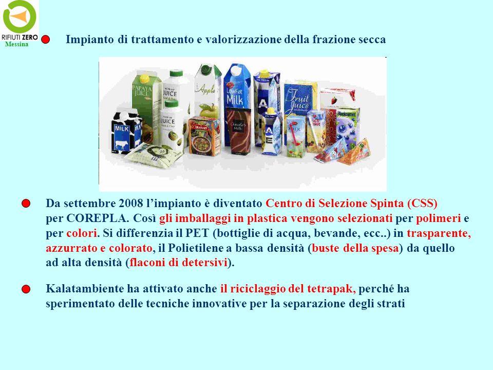 Impianto di trattamento e valorizzazione della frazione secca Da settembre 2008 limpianto è diventato Centro di Selezione Spinta (CSS) per COREPLA. Co