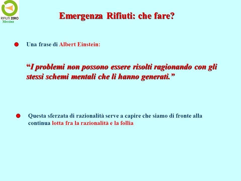 Emergenza Rifiuti: che fare? Una frase di Albert Einstein: I problemi non possono essere risolti ragionando con gliI problemi non possono essere risol