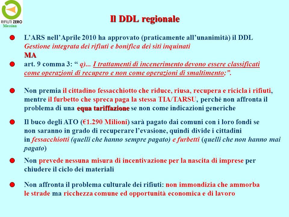 Il DDL regionale LARS nellAprile 2010 ha approvato (praticamente allunanimità) il DDL Gestione integrata dei rifiuti e bonifica dei siti inquinatiMA I