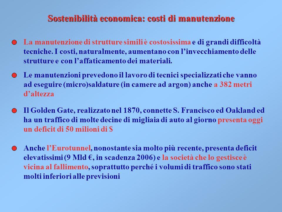 Sostenibilità economica: costi di manutenzione La manutenzione di strutture simili è costosissima e di grandi difficoltà tecniche.