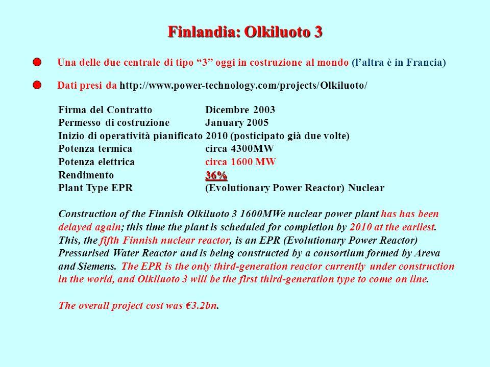 Finlandia: Olkiluoto 3 Dati presi da http://www.power-technology.com/projects/Olkiluoto/ Firma del Contratto Dicembre 2003 Permesso di costruzioneJanu