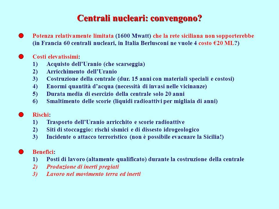 Centrali nucleari: convengono? Potenza relativamente limitata (1600 Mwatt) che la rete siciliana non sopporterebbe (in Francia 60 centrali nucleari, i