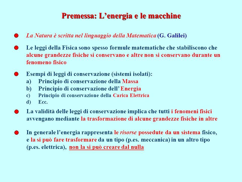 Premessa: Lenergia e le macchine La Natura è scritta nel linguaggio della Matematica (G. Galilei) Le leggi della Fisica sono spesso formule matematich